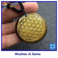 35mm High Quality Natural Stone Quartz Crystal Pendant Flower Of Life Pendulum Tiger S Eye Pendants