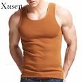 Mens Thick Warm Vest 2017 New Casual Cotton Muscle Fitnesss Tank Tops Solid Color Bodybuilding Tank Top Clothing