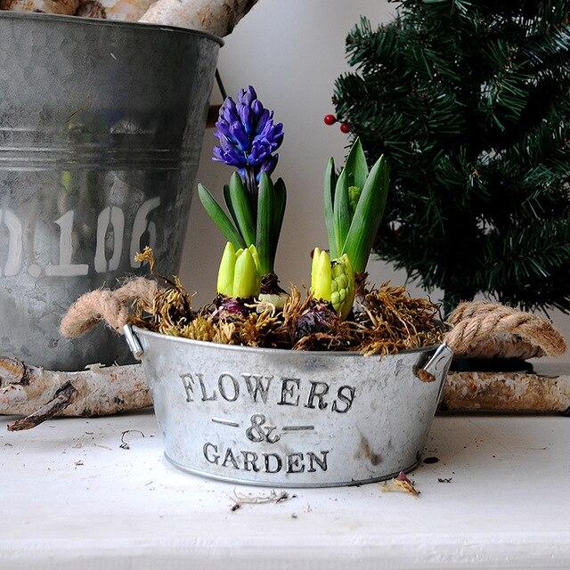 European Style Iron Garden Pot U0026 Planter Decorative Metal Flower Pot  Galvanized Buckets For Vintage Plant