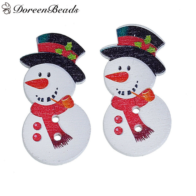 8fe96b9383e DoreenBeads Wood Buttons 2 Holes White Christmas Snowman With Black Hat    Red Scarf 3.6cm x1.8cm(1 3 8