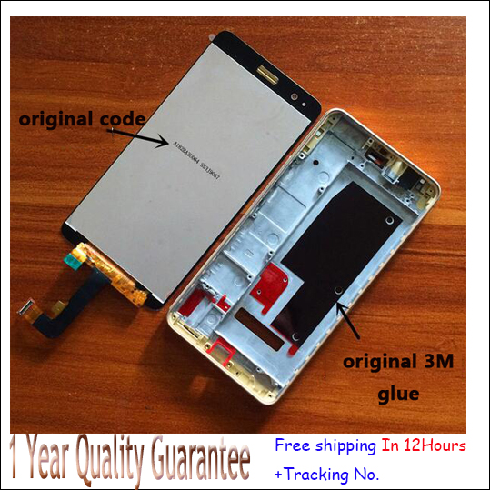 Best quality!White,blackor golden  LCD Display +Touch Screen Digitizer Assembly For Huawei honor 6plus  with frame free shipping for huawei honor 7 lcd display touch screen digitizer with frame lcd display assembly replacement pantalla black white gold tool