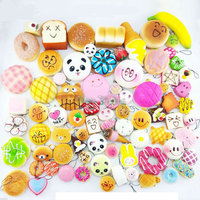 Hot Selling 20 Pcs Lot Mobile Phone Straps Squishy Cute Soft Panda Bread Donut Phone Keychain