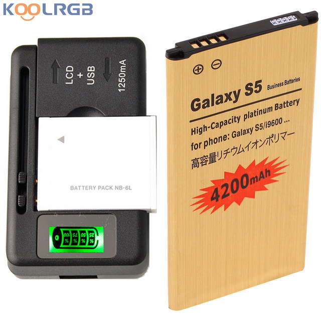 GOLD Premium For Samsung Galaxy S5 SM-G900V High Capacity 4350 mAh + 1 PCS Universal Charger EB-BG900BBU Battery