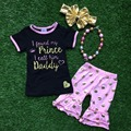 new Arrival Girls Summer stuff short sleeves Prince shirt  gold dot capris with matching headband and necklace set