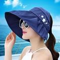 BooLawDee Women Summer foldable big brim sun visor beach hat sunscreen breathable waterproof adjustable multicolor H51004