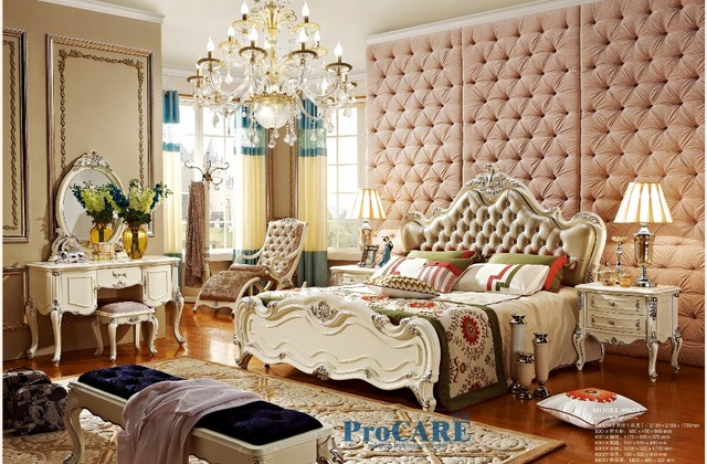 luxury French style solid wood carving bedroom furniture set with ...