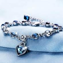 LYIYUNQ Fashion Bracelet Hot Wedding Female Heart Crystal Bracelets For Women Luxury Temperament Silver-Color Fine Jewelry Gift(China)