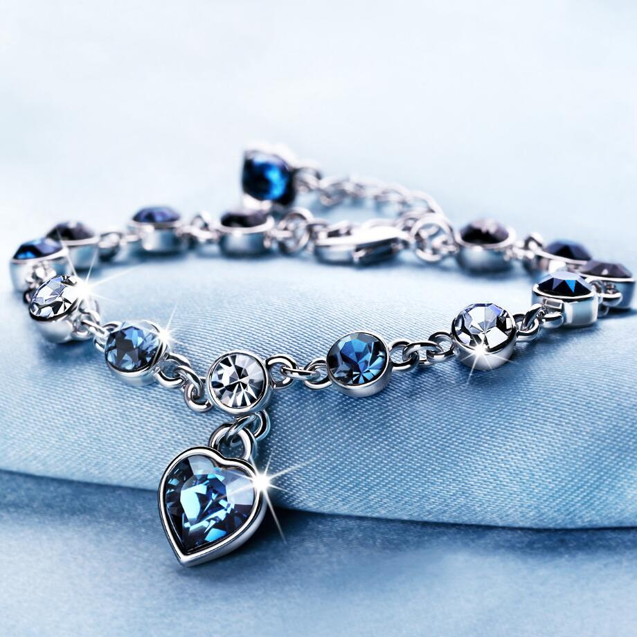 LYIYUNQ modna narukvica vruće vjenčanje žensko srce kristalno narukvice za žene luksuzni temperament srebrno-boji fini nakit