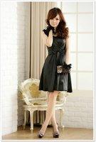 бесплатная доставка! новый элегантный черный платье коктеила с бантом платья опт и розница размер с-XXXL осенняя