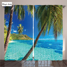Curtains Decoration Fabric Fabric Living Room Tropical Island Palm Bright  Turquoise Blue Sea Beach G Curtains
