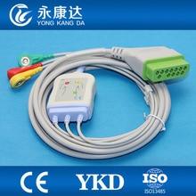 Frete grátis para Nihon Kohden one-piece 3-leva one piece ECG cabo com leadwires snap IEC