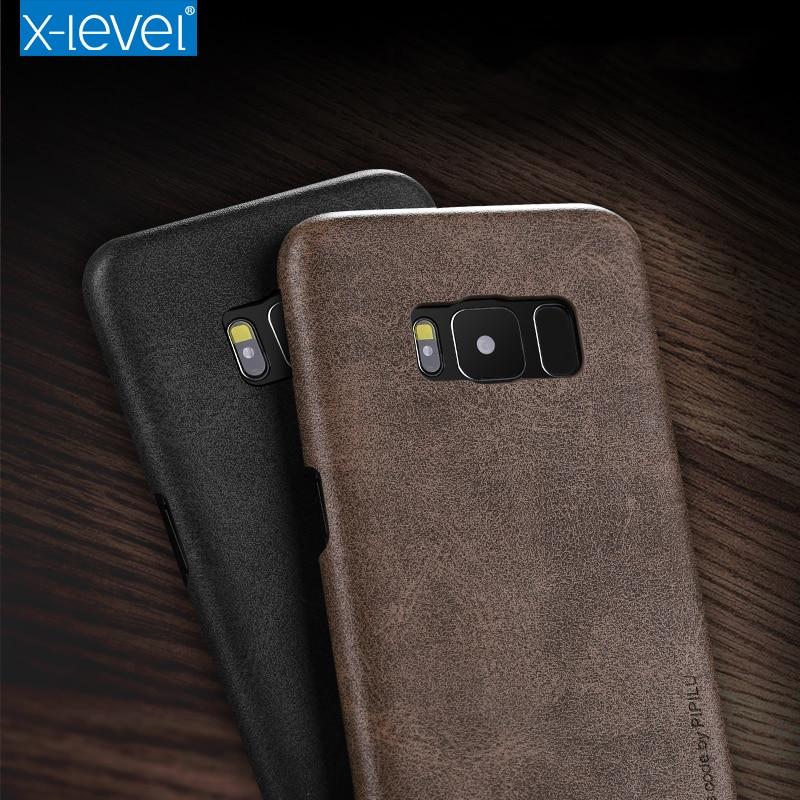 X-Level για θήκη Samsung S8 Πολυτελές εξαιρετικά λεπτό ρετρό δέρμα TPU σιλικόνη θήκη τηλεφώνου για Samsung S6 S7 edge S8 Plus κάλυμμα θήκης