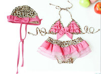 Hot Sale Children Swimwear Baby Girls Kids Pink Leopard Print Lovely Princess Bikini Two Pieces swimsuit Bathing suit Beachwear