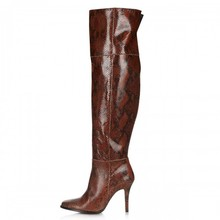 Red Brown Snakeskin Over Knee High Women Boots High Heels Pointed Toe Winter Boots For Ladies 2016