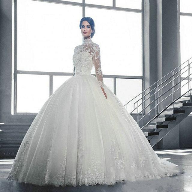 703d6ad891 Long Sleeve Lace White Wedding Dress 2017 A-Line High Neck Wedding Gowns Online  Shop China vestido de noiva ZZ665