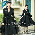 le palais vintage women 50s pinup black long sleeve swing wool coat plus size 4xl manteau d'hiver rockabilly femme abrigos mujer