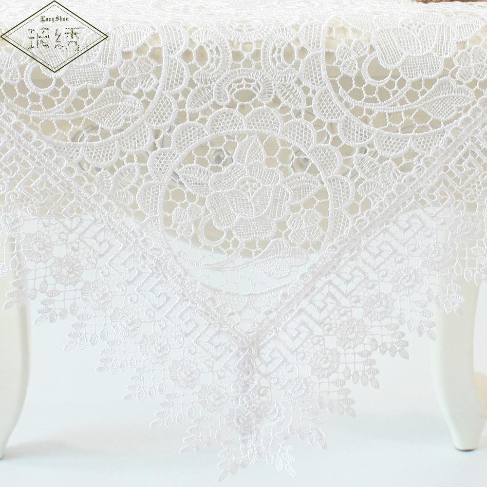 cm rectangular cuadrada cubierta de tabla mantel de tela de encaje bordado