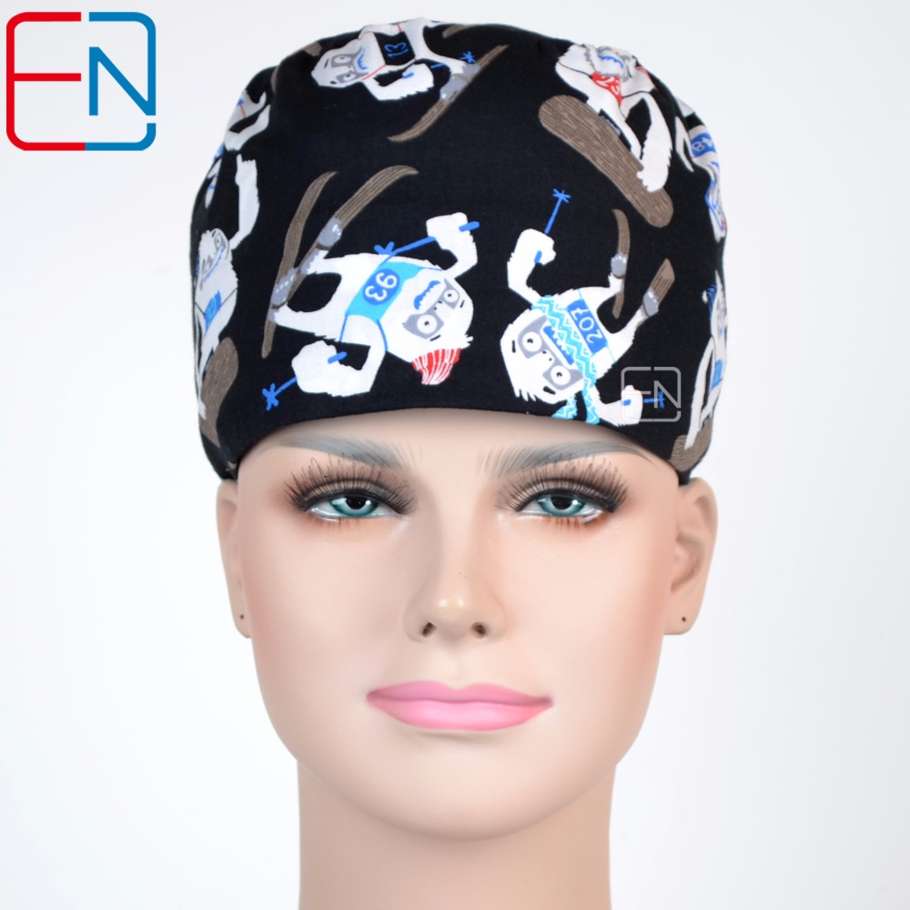 flowers pattern medical scrub caps for long hair Skating boy