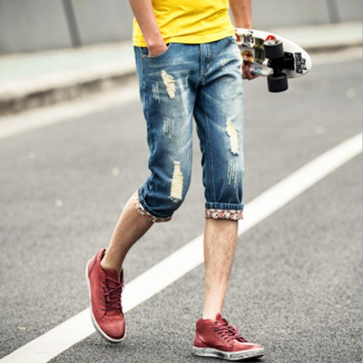 HOT 2016 Fashion Summer Style Vintage hole cowboy male ultra-thin teenagers Ripped Jeans Men Slim Fit Demin Capri biker jeans