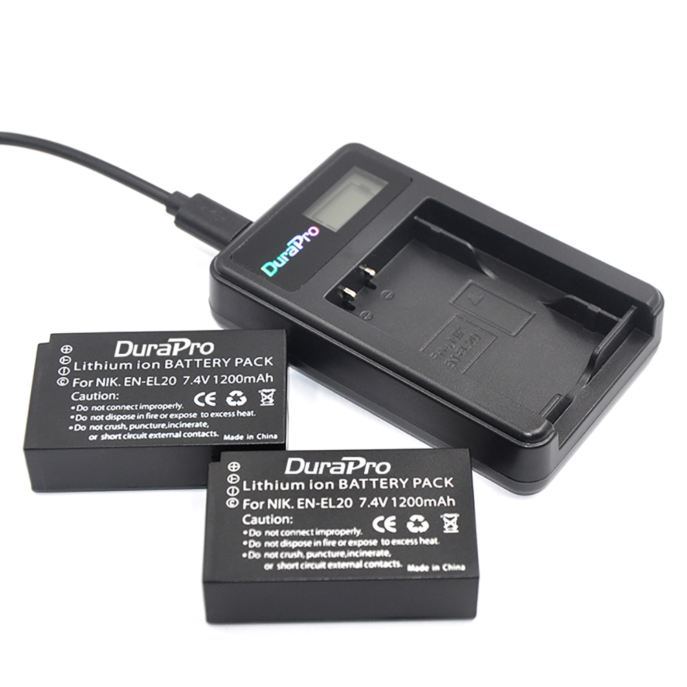 Durapro 2 Pcs 1200mAh EN-EL20 EN EL20 ENEL20 Rechargeable Li-Ion Battery + LCD USB Charger for NIKON 1 J1 J2 J3 S1 Camera ultrafire 14500 1200mah 3 7v rechargeable li ion battery blue 2 pcs