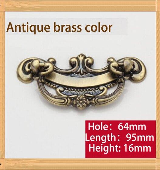 Length 95mm Hole C C 64mm Zinc Alloy Kitchen Furniture Handle 6pcs antique bedroom drawer handle