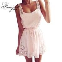FANCYINN Causal Solid Color Mini Dresses Women Summer Stripe Plus Size Chiffon Beach Dresses Vestidos