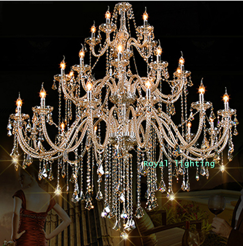 Bohemian 32 42 Pcs Cognac Chandelier Crystal Lighting For Church Mall Villa Hotel Large Vintage Glass Candelabro Lamp In Chandeliers From Lights