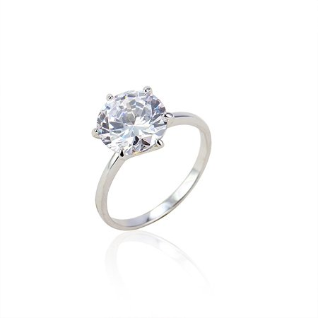 Clic Single Stone Ring For Engagement Wedding Gift With White Gold Plated