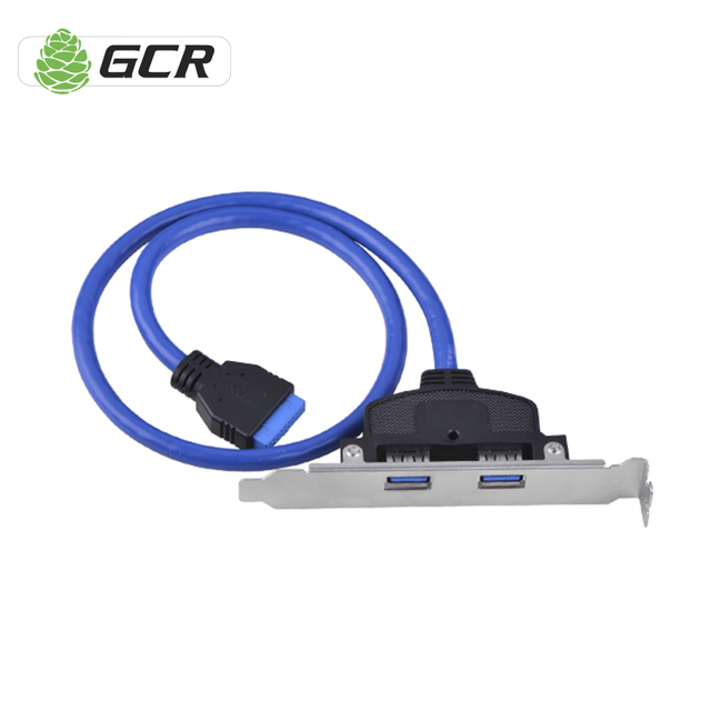 GCR 20 pinheader to USB 3.0 A Female 2 ports with bracket