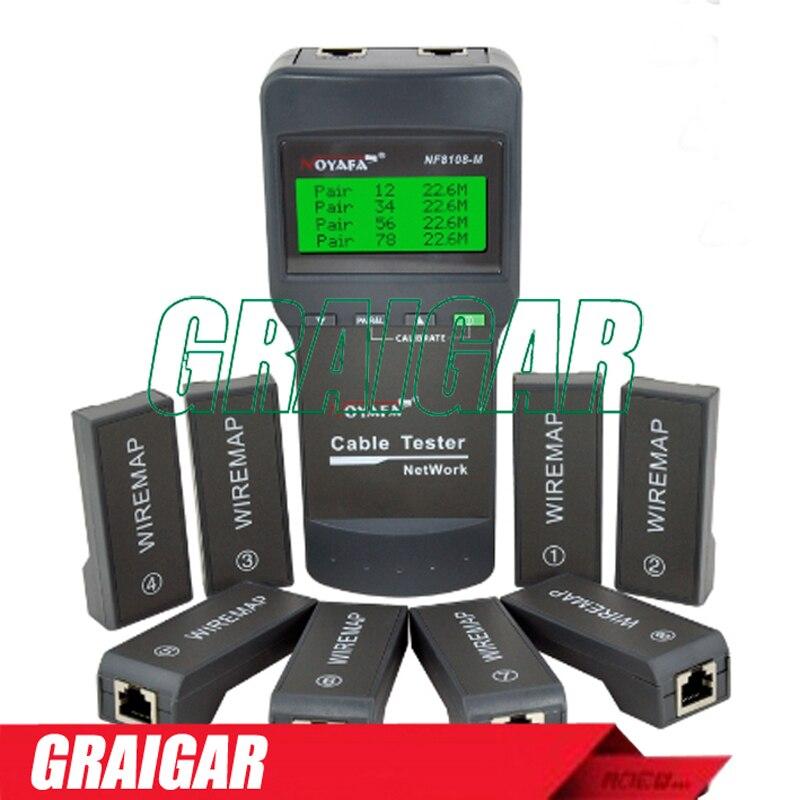Multifunction NOYAFA NF-8108-M Network LAN Phone Cable Tester Meter Cat5 RJ45 Mapper 8 pc Far End Test Jack English operation цена