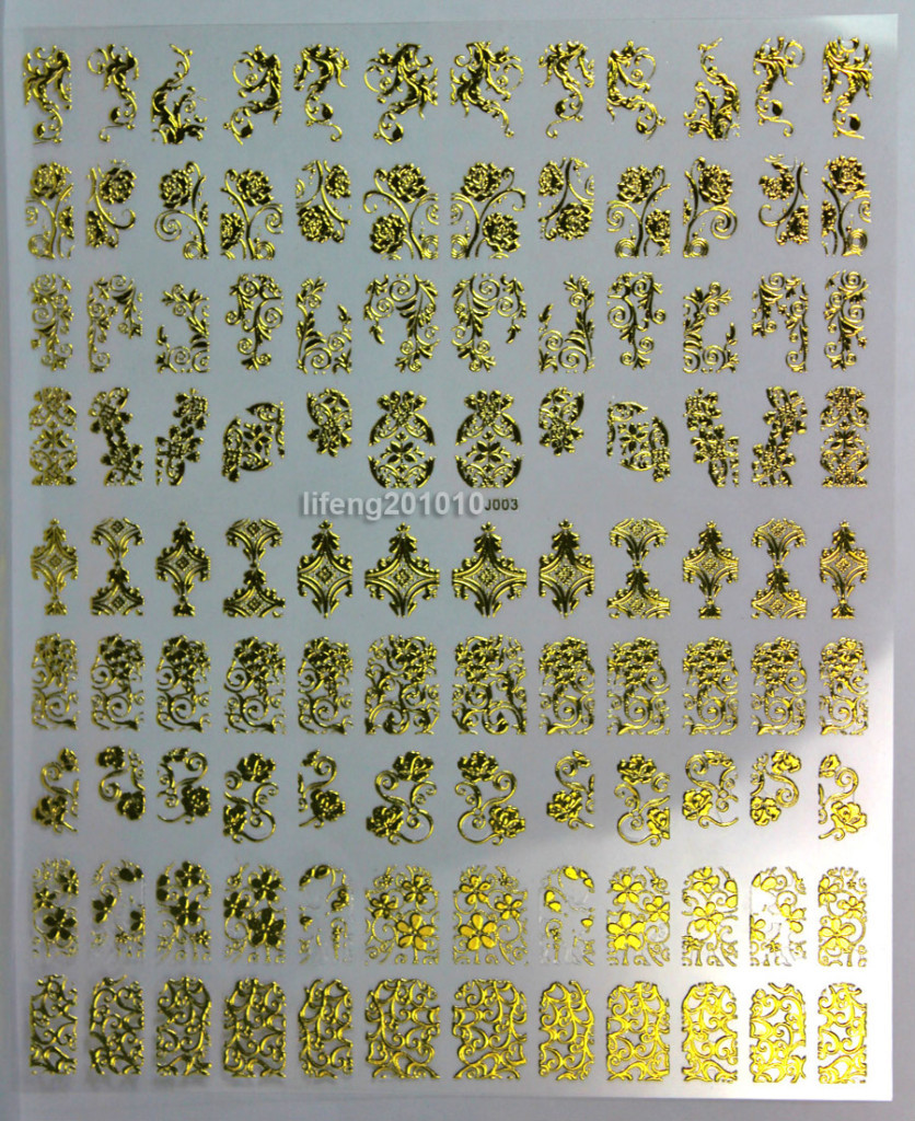 108PCS High Quality Gold 3D Nail Art Stickers Decals For Nail Tips ...
