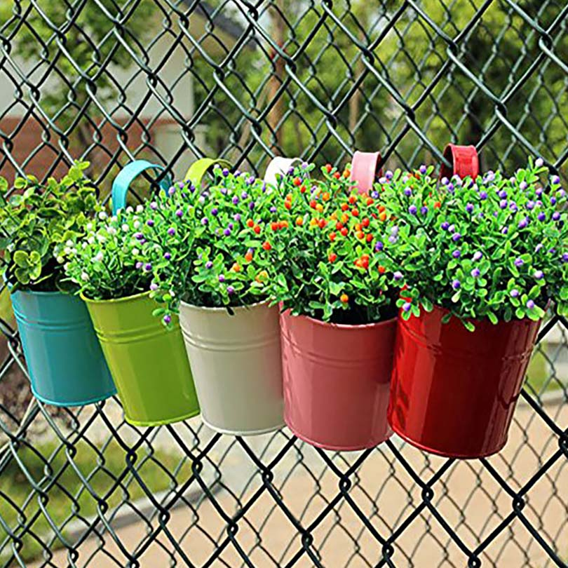 Hanging Plant Pots Online Part - 26: Candy Colors Flower Metal Hanging Pots Garden Balcony Wall Vertical Hang  Bucket Iron Holder Basket With
