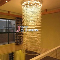 M Led Lamps Long Crystal Pendant Lights Large Stairway Led Hanging Light Modern Luxury Pendant Lighting Hotel Living Room