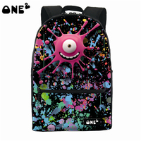 2016 ONE2 Design Big Eye Monster Parttern Nylon Custom School Bag Best Popular Backpack Brands Name