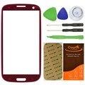 CrazyFire Красный Переднее Стекло Объектива Сенсорный Экран Стекла Для Samsung Galaxy S3 SIII i9300 Замена Панели Наборы Инструментов Клей