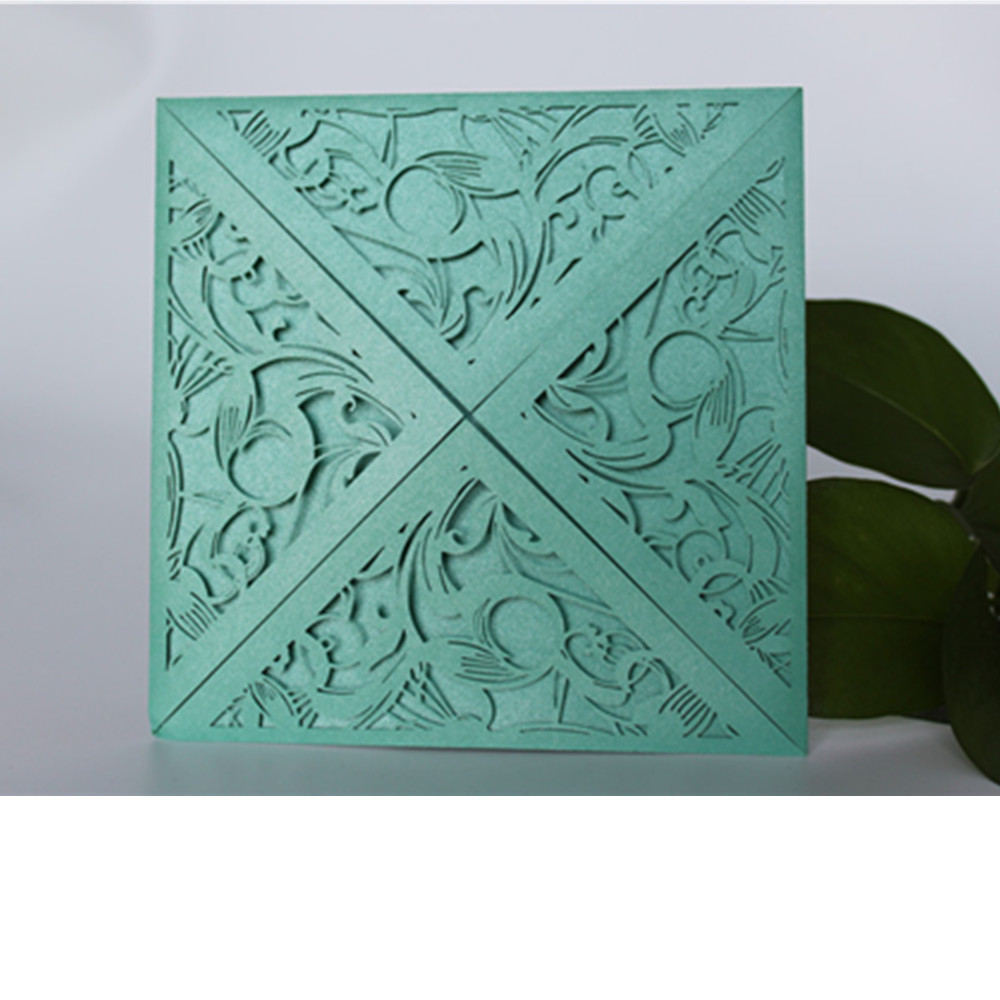 №12pcs square delicate carved pattern business party invitation ...