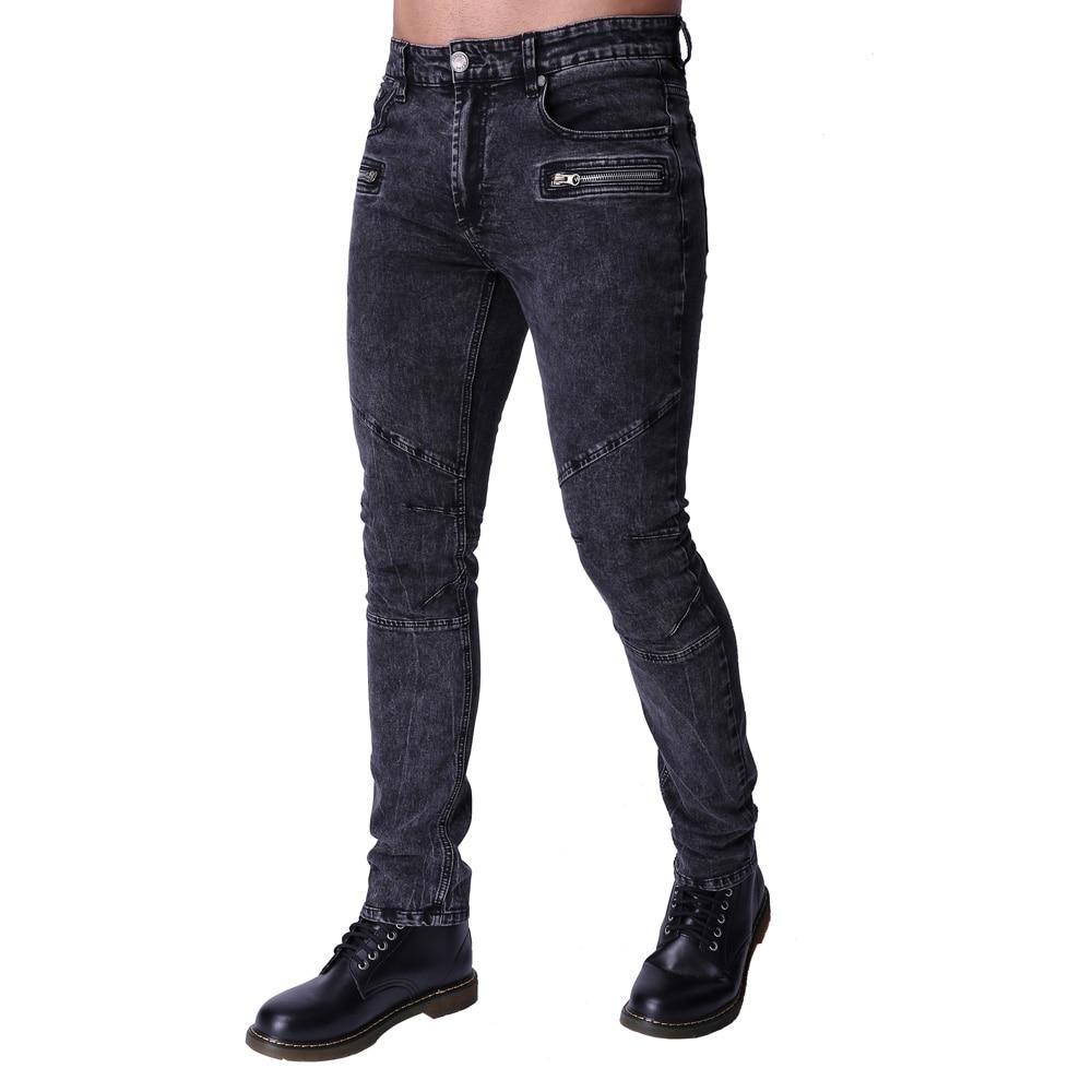 2017 Men's Motorcycle Biker Runway Stretchy Jeans Washed Snow Grey Denim Fashion  Slim New Hip Hop Urban Zipper Jeans ZY-1003
