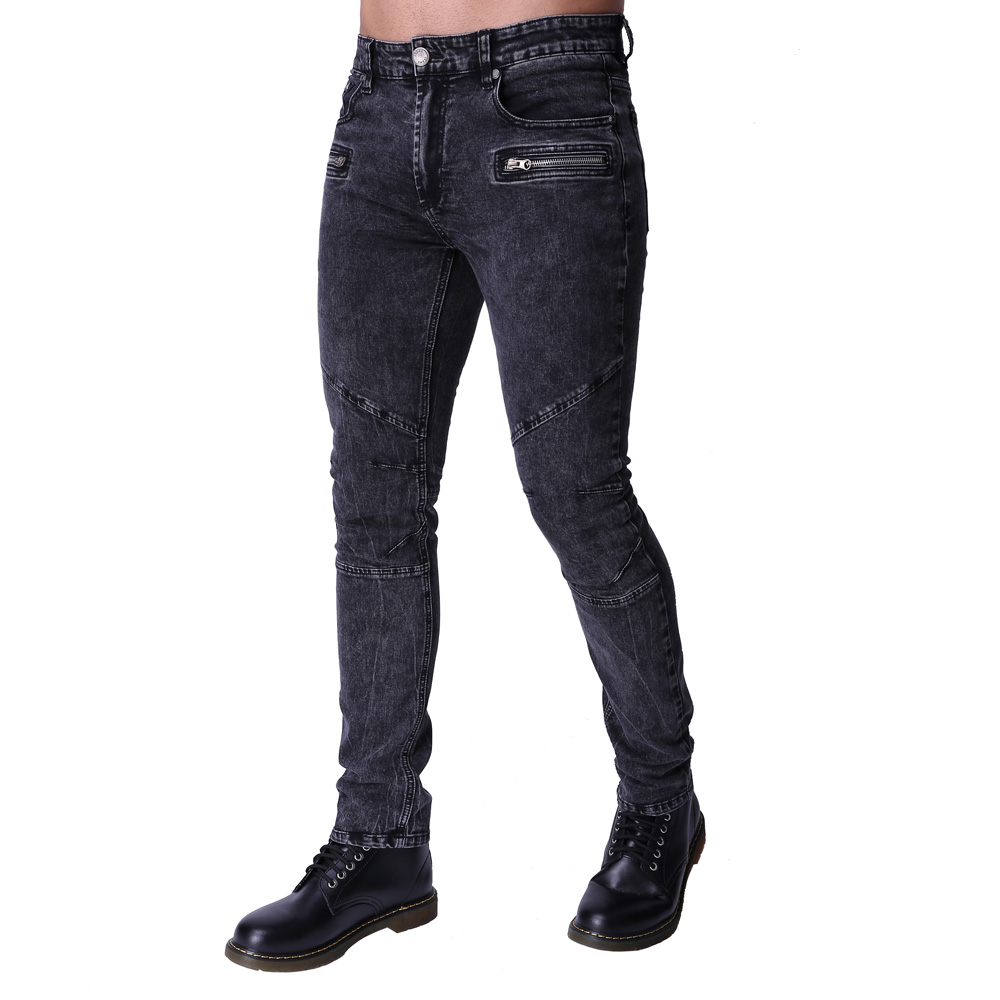 2017 Men's Motorcycle Biker Runway Stretchy   Jeans   Washed Snow Grey Denim Fashion Slim New Hip Hop Urban Zipper   Jeans   ZY-1003