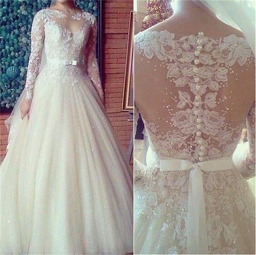 Vintage long sleeve wedding dress white high neck long for White vintage wedding dresses