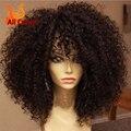 Kinky encaracolado desconto perucas nós branqueada Glueless Full Lace Wigs com franja perucas celebridade virgem frente cabelo brasileiro