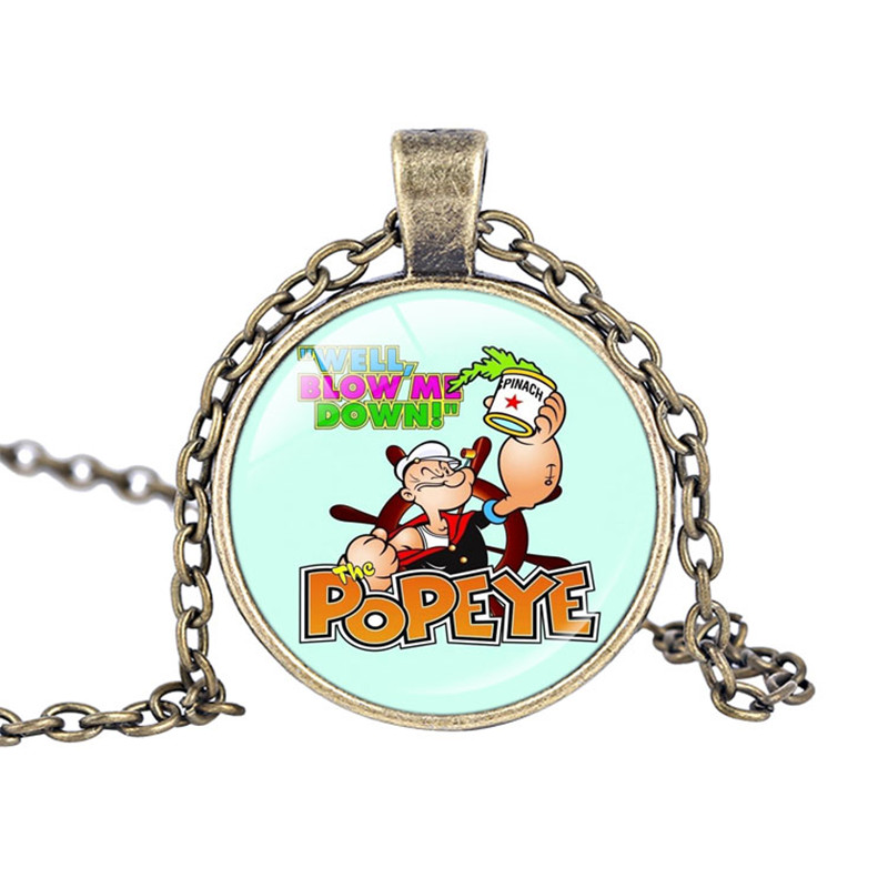 Brand New Cartoon Popeye the Sailor Necklace Jewelry Bridesmaid Glass Cabochon Necklace Personalized Christmas Gift
