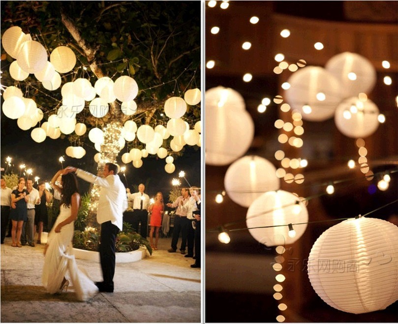 820cm Round Chinese Lantern Lampion White Paper Lanterns For
