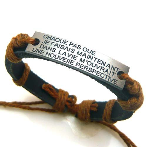 Hot Stylish Tibetan Leather Hemp Bracelets Engraved Words