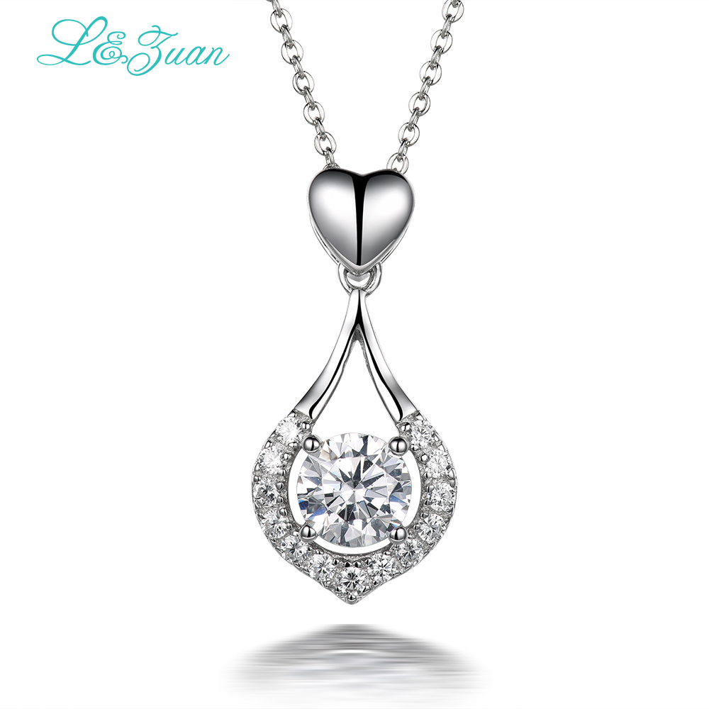 I&zuan 925 sterling silver 1.8ct Trendy Love Heart Pendant Fine Jewelry gift Send a Silver Simple Fashion Necklace For Women