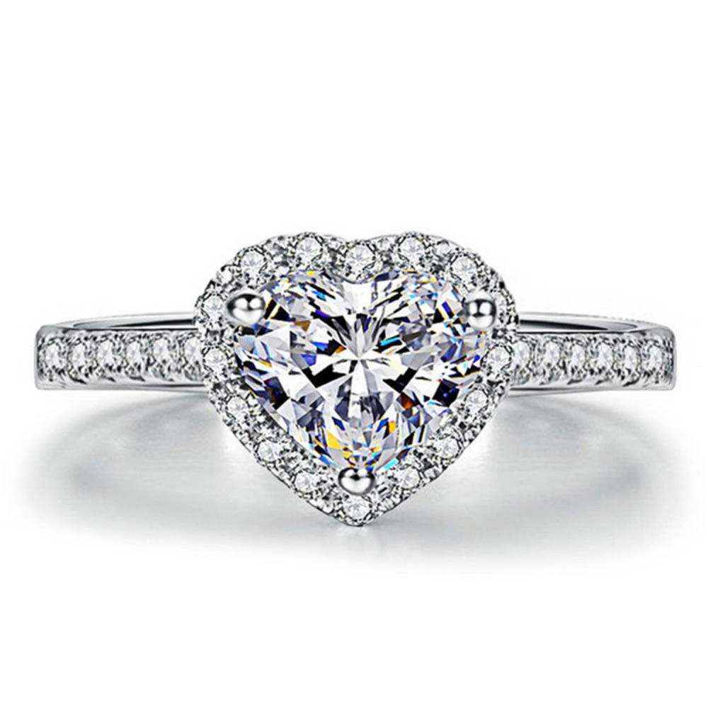 Горячая 2017 Для женщин Посеребренная Crystal Любовь кольцо в форме сердца Свадебные украшения