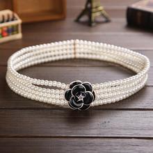 Ladies Elastic Pearls Waistbands Four Rows Beadings Waist Belts With Flower Buckles Wedding Party Ornaments os873