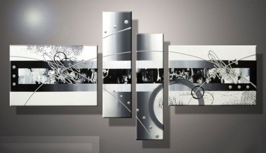 Hand painted wall art white black lines point home decoration abstract landscape oil painting on canvas 4pcs setmixorde in painting calligraphy from home