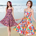 Сексуальные женщины boho спинки хлопок тонкий пляж платье без рукавов сарафан женская элегантный цветочный большой размер платья S-XXXL 9 цветов