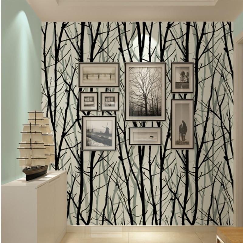 3d Effect Wallpaper For Living Room Birch Tree Branches Embossed Wallpaper Dine Room Hallway