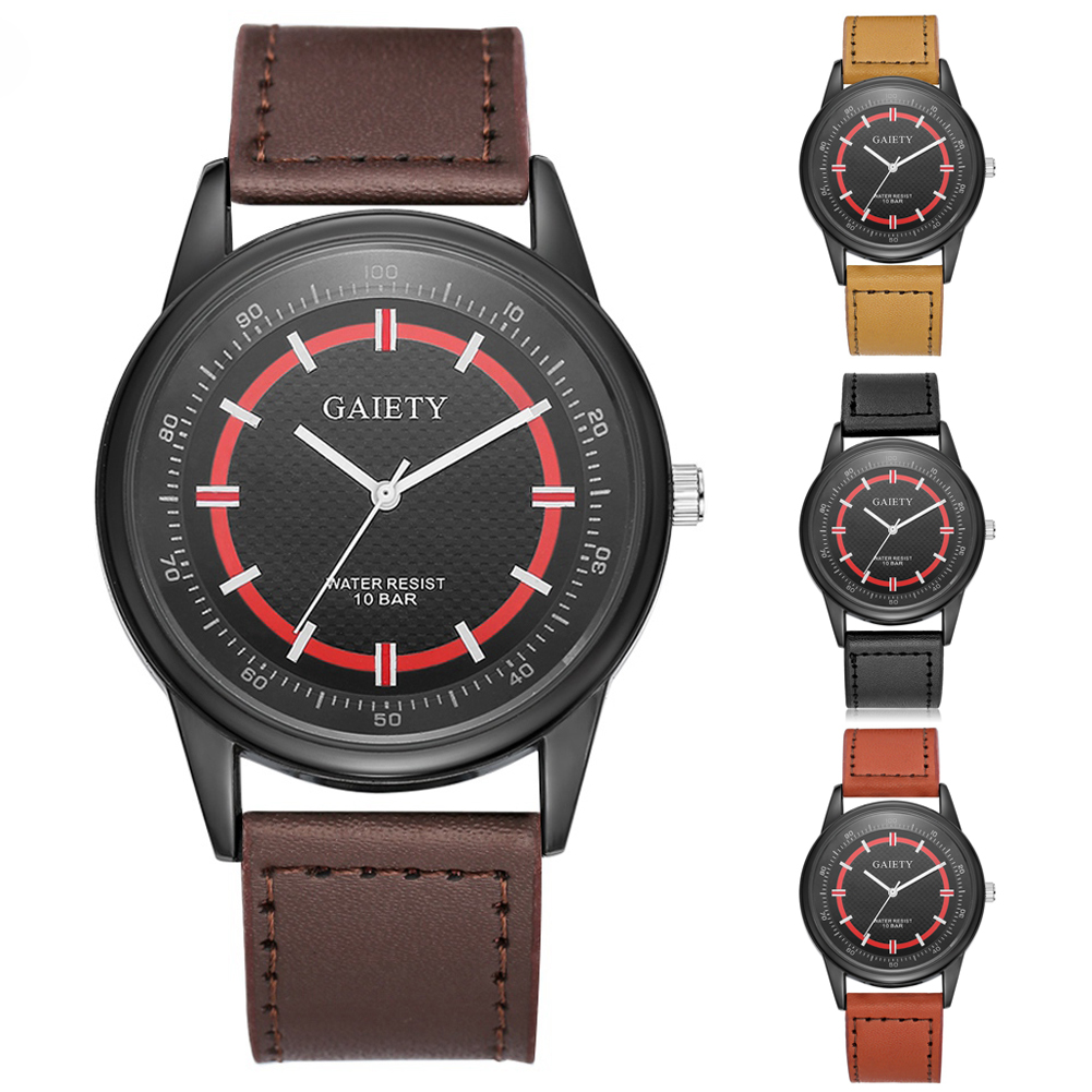 Men Fashion Faux Leather Band Watch Big Pointer Business Dial Analog Quartz Wristwatch